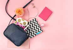The Top View Of Open Woman Bag Royalty Free Stock Photography
