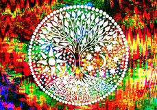Free The Tree Of Life. Mandala. Symbolic Pattern In Colorful Blues And Purples. Royalty Free Stock Photos - 138779278