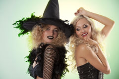 The Two Black Witch Party Royalty Free Stock Photography