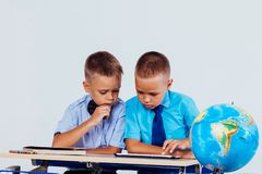 Free The Two Boys Are Looking At Internet Tablet School Stock Photos - 166462423