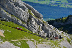 The Two Red Pilatus Train, The World S Steepest Cogwheel Railway Stock Photography
