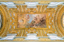 The Vault Of The Basilica Of The Santi Ambrogio E Carlo Al Corso, With `The Fall Of The Rebel Angels` By Giacinto Brandi. In Rome. Royalty Free Stock Photo