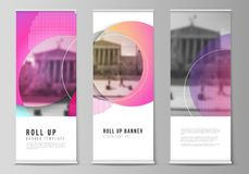 The Vector Illustration Of The Editable Layout Of Roll Up Banner Stands, Vertical Flyers, Flags Design Business Royalty Free Stock Photo