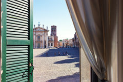 The View From The Windows On The Square Of The City Of Mantova I Stock Photography