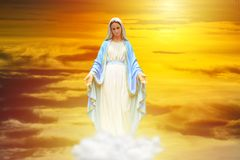 The Virgin Mary Statue With Sun Rise.. Royalty Free Stock Image