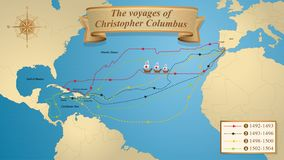 Free The Voyages Of Christopher Columbus. Map With The Marked Routes Of The 4 Trips Of Columbus On A Blue Background Adorned With A Royalty Free Stock Photography - 158357497