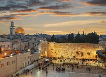 Free The Wailing Wall And The Dome Of The Rock In The Old City Of Jerusalem At Sunse Royalty Free Stock Images - 101227729