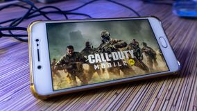 Free The Wallpaper Of Call Of Duty Mobile Version Game On A Smartphone Stock Image - 160287691