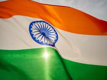 Free The Wavy Indian Flag On The Sunset Sky. Indian Independence Day. Royalty Free Stock Photos - 122081328