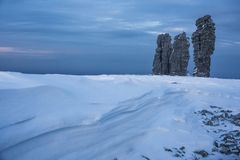Free The Weathering Posts On The Plateau Manpupuner, Russia Stock Photos - 133397563