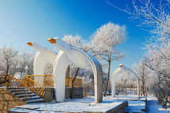 The Wild Goose Sculpture And Blue Sky In Winter Royalty Free Stock Image