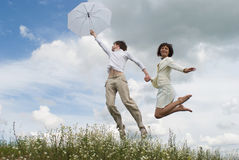 Free The Woman And Man With White Umbrella Stock Image - 10226291