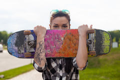 Free The Woman Holds A Skate Stock Photography - 82763242