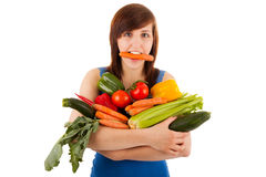 The Woman With Her Arm Full Of Vegetables Stock Images