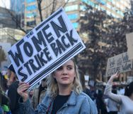 """""""The Women Strike Back"""" Protest Sign From Nashville's Women's March 2018 Royalty Free Stock Photography"""