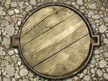 The Wooden Manhole! Stock Image
