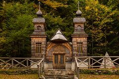 Free The Wooden Russian Chapel Near The Vršič Pass In Slovenia Royalty Free Stock Photos - 173056618