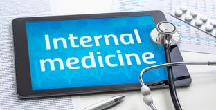 Free The Word Internal Medicine On The Display Of A Tablet Stock Image - 165112191