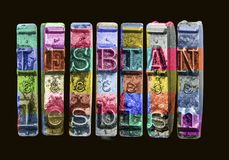 Free The Word LESBIAN   With Old Typewriter Hammers Royalty Free Stock Photography - 150509587