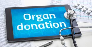 Free The Word Organ Donation On The Display Of A Tablet Royalty Free Stock Photography - 156247587