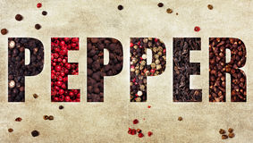 The Word Pepper Royalty Free Stock Photography