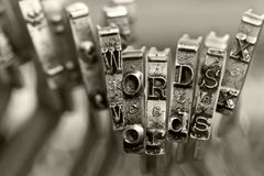 Free The Words WORDS With Old Typewriter Keys  Macro Stock Photos - 142955223