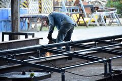 Free The Worker Working With Steel Fabrication Factory Royalty Free Stock Photography - 189977627