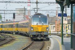 Free The Yellow Passenger Train Of The RegioJet Company Stock Image - 152520471