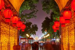 The Yong Ning Gate Of City Wall At Night Stock Photos