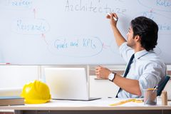 Free The Young Male Architect In Front Of The Whiteboard Royalty Free Stock Photography - 144700767