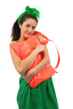 The Young Smiling Girl With Orange Bag Stock Photos