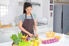 Free The Young Woman Is Cutting Vegetables In The Kitchen, Cucumber Slices That Are Sliced Stock Photos - 185509433