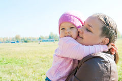 The Young Woman With The Daughter On Walk Royalty Free Stock Image