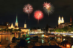 The Zurich City Skyline At Night Stock Images