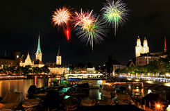 The Zurich City Skyline At Night Royalty Free Stock Photography
