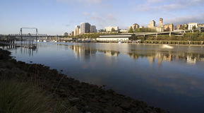 Thea Foss Waterway Waterfront River-Gebouwen Noord-Tacoma WA Stock Foto