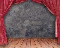 Theater. Small stage with red velvet theater curtains Royalty Free Stock Images