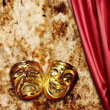 Theater. Gold mask of comedy and tragedy, concept for theater Royalty Free Stock Images