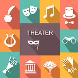 Theater acting  icons set vector  Royalty Free Stock Photo
