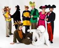Theater Actors. Different theatrical actors in costumes of different characters from children books Stock Photography
