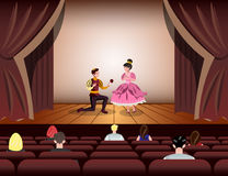 Theater actors dressed Like a Prince and a Princess on stage Royalty Free Stock Photography