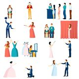 Theater actors flat icons set Stock Image
