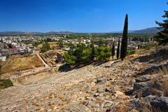 Theater of ancient Argos, Greece. Greece. Argos. Remains of ancient Argos - ruins of the Hellenistic Theater, the Odeon and the Roman Baths. There are the modern Royalty Free Stock Photo