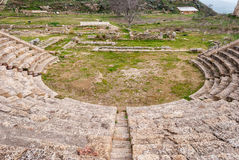 The theater of the ancient greek city of Morgantina, in Sicily Royalty Free Stock Photography