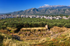 Theater of ancient Sparta, Greece. Greece. Sparta. Remains of ancient Sparta - ruins of theater. There are the modern city and fragment of the Taygetus Massif ( Royalty Free Stock Images