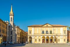 Theater of Ariosto at the place of Vittoria in Reggio Emilia - Italy. REGGIO EMILIA,ITALY - SEPTEMBER 25,2018 - Theater of Ariosto at the place of Vittoria in stock photos