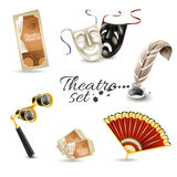 Theater attributes flat pictograms set Stock Image