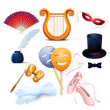 Theater Background Flat Icons Set Royalty Free Stock Image
