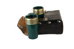 Theater binoculars. Green metal theater binoculars. Isolated object on a white background stock image