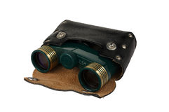 Theater binoculars. Green metal theater binoculars in a leather case. Isolated object on a white background Royalty Free Stock Photography